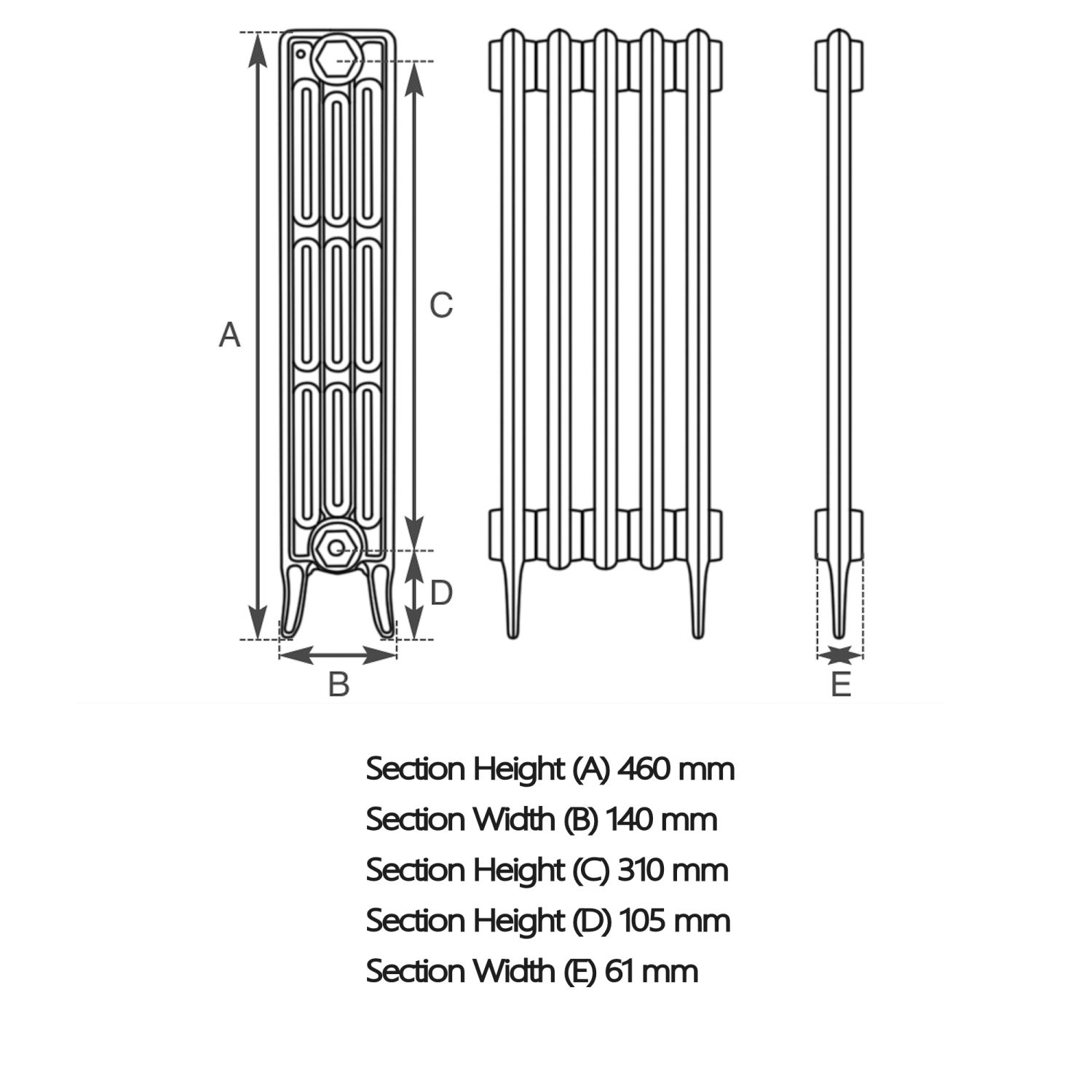 victorian clearance 4 column 16 section cast iron radiator h460mm x